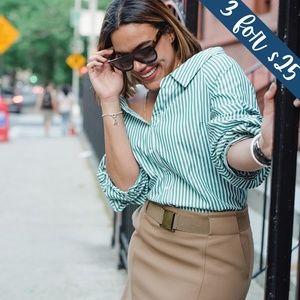 3/$25 Hollister Green & White Stripe Button Blouse